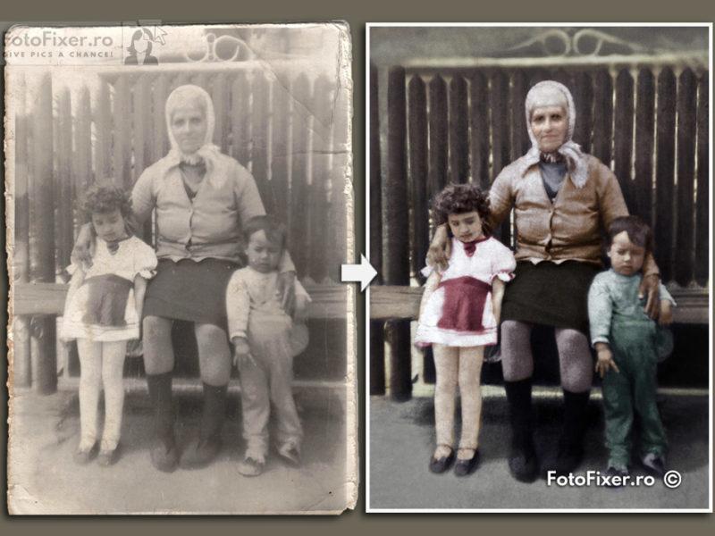 Fotografie veche bunica nepoti reparare si colorizare fotofixer Low Res 800x600 - Restaurare fotografii vechi - FotoFixer