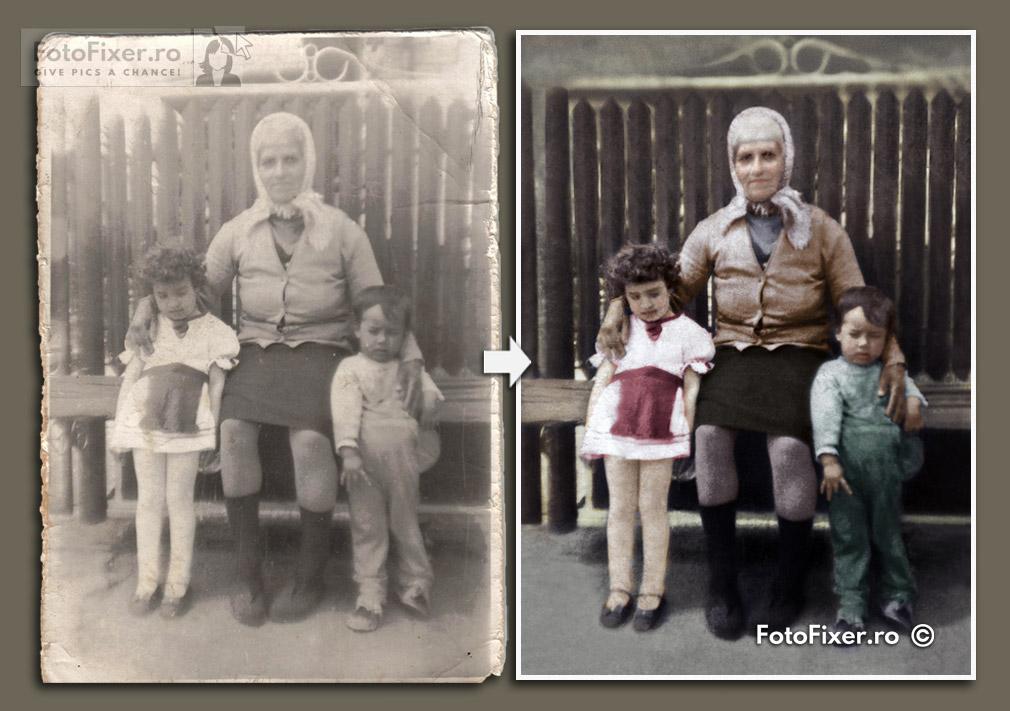 Fotografie veche bunica nepoti reparare si colorizare fotofixer Low Res - Exemple restaurare fotografii vechi - FotoFixer