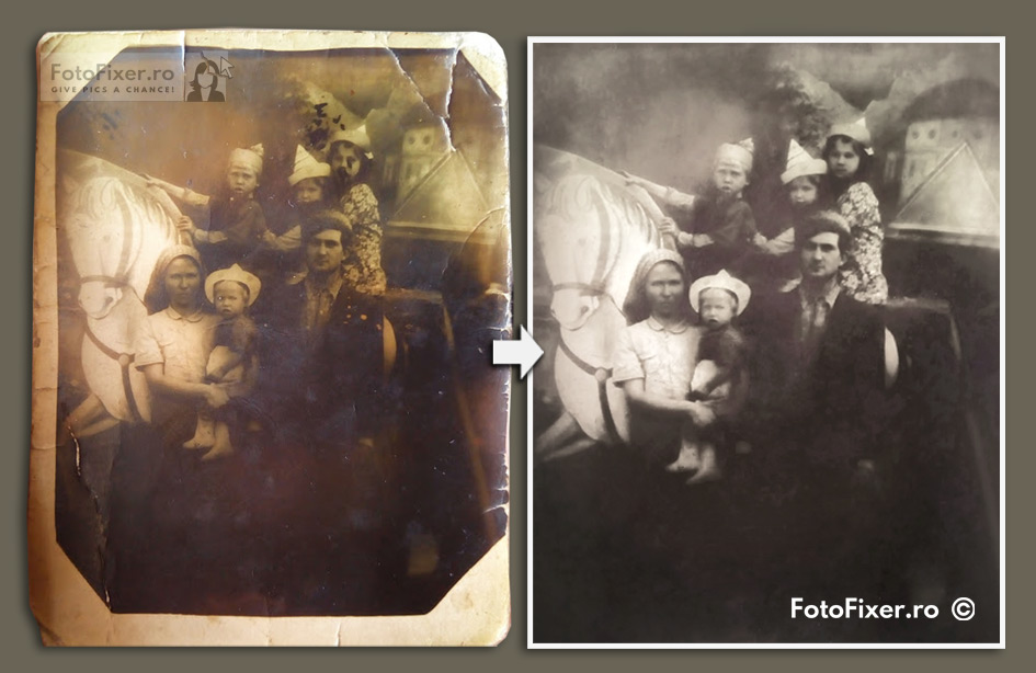 fotografie familie la b  lci anii 50 restaurat   de fotofixer - Exemple restaurare fotografii vechi - FotoFixer
