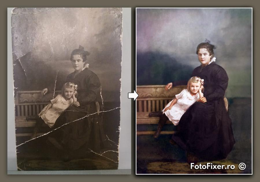 restaurare colorizare fotografie 100 ani mama si copil - Exemple restaurare fotografii vechi - FotoFixer