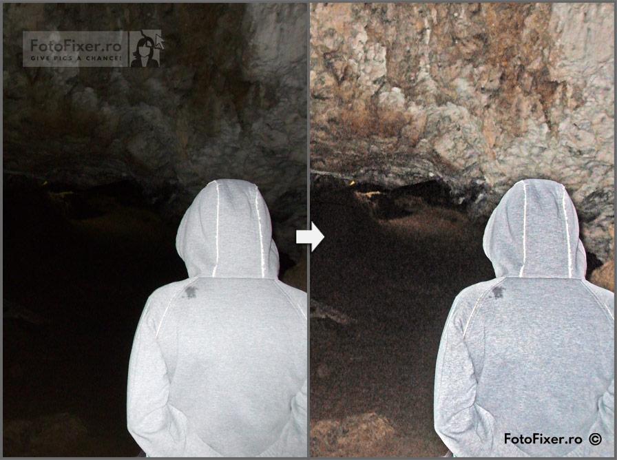 FotoFixer pestera inainte si dupa - Retușare fotografii digitale - FotoFixer