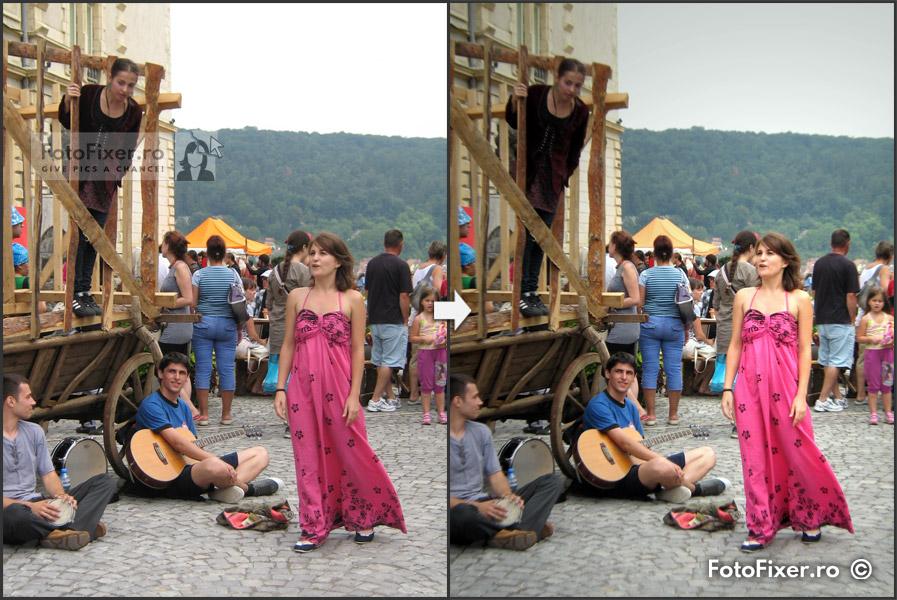 Fotofixer actori strada inainte si dupa retusare evidentiere personaj - Retușare fotografii digitale - FotoFixer