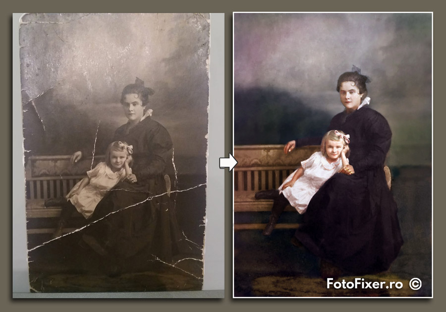 recondi  ionare fotografii mama   i fiica colorizare fotografii vechi - Colorare fotografii vechi - FotoFixer