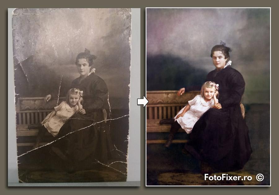 recondi  ionare fotografii mama   i fiica colorizare fotografii vechi - Reconditionare fotografii vechi - FotoFixer